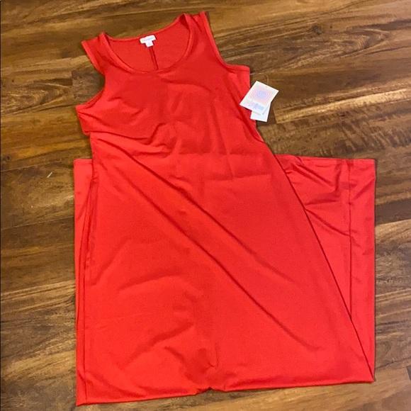 Red Sleeveless Lularoe Dani Maxi Dress